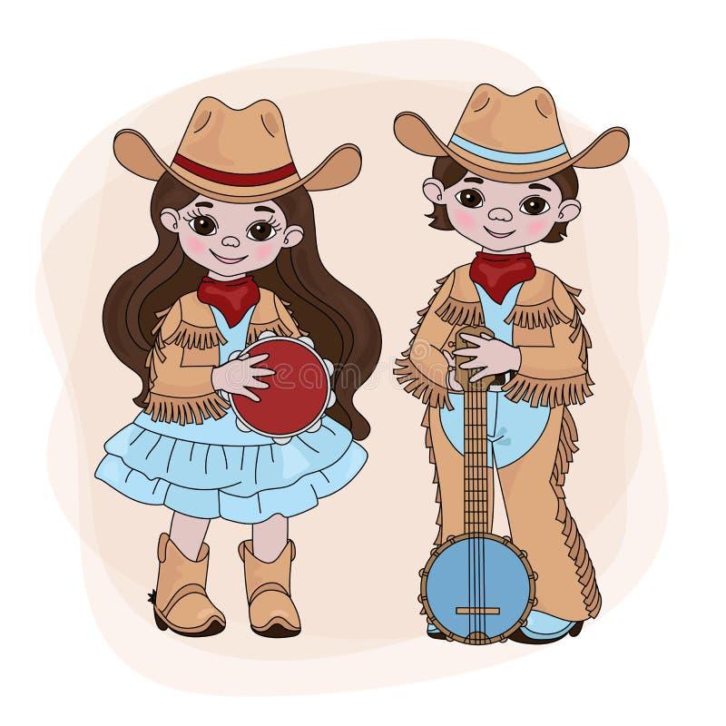 COWGIRL-COWBOY Country Music Festival-Vektor-Illustrations-Satz vektor abbildung