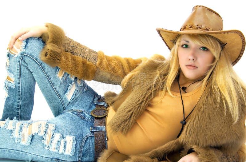 Cowgirl da beleza no branco imagens de stock