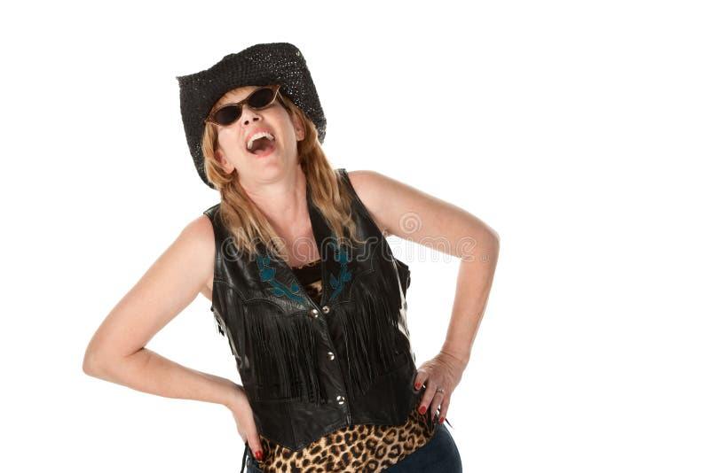 Cowgirl de risa imagen de archivo libre de regalías