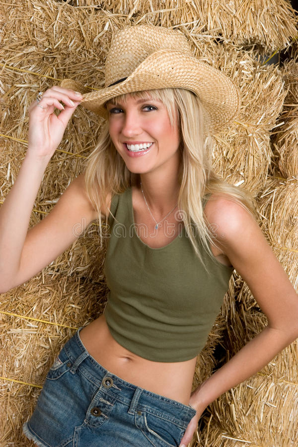 Cowgirl de riso imagem de stock
