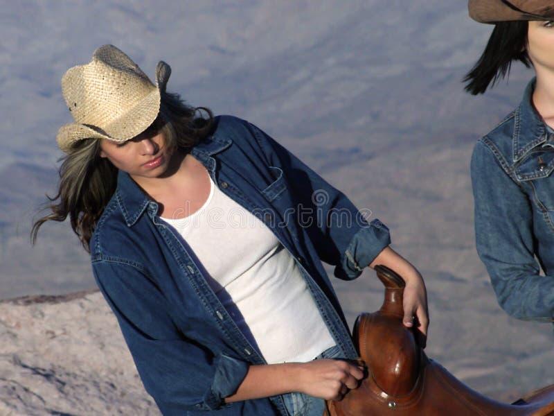 Cowgirl de trabalho fotografia de stock royalty free