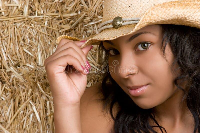 Cowgirl do americano africano foto de stock
