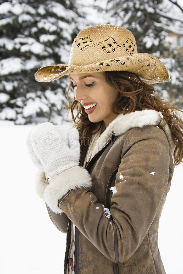 Cowgirl Drinking Coffee. Royalty Free Stock Images