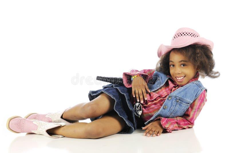 Cowgirl, felicemente rilassato immagine stock libera da diritti