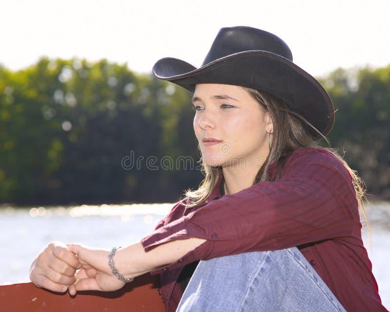 Cowgirl fora foto de stock royalty free