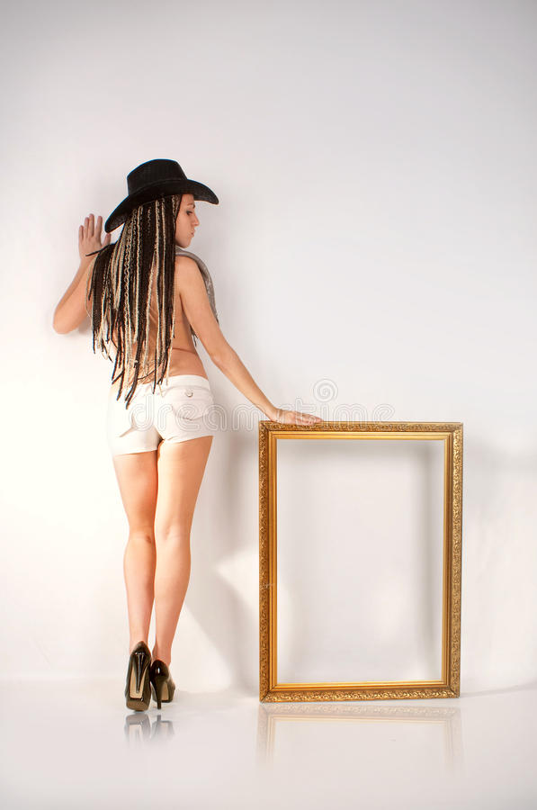 Cowgirl and frame royalty free stock photos