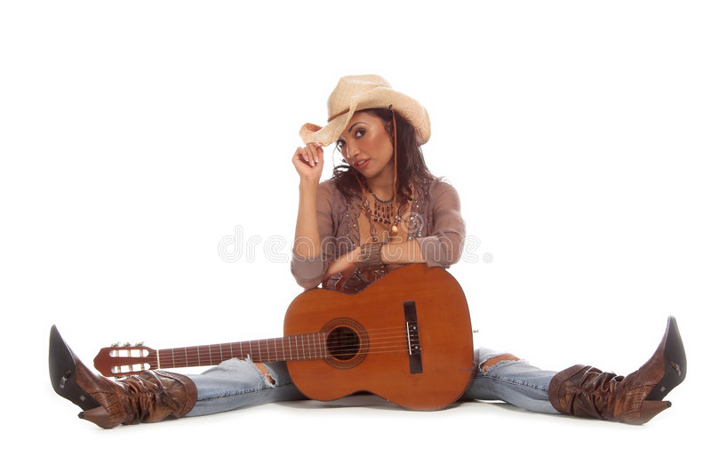 Cowgirl Guitar royalty free stock photo