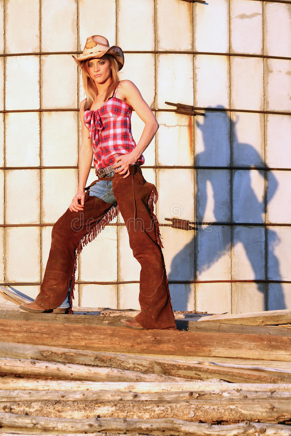 Download Cowgirl and Her Shadow stock image. Image of western - 21946301