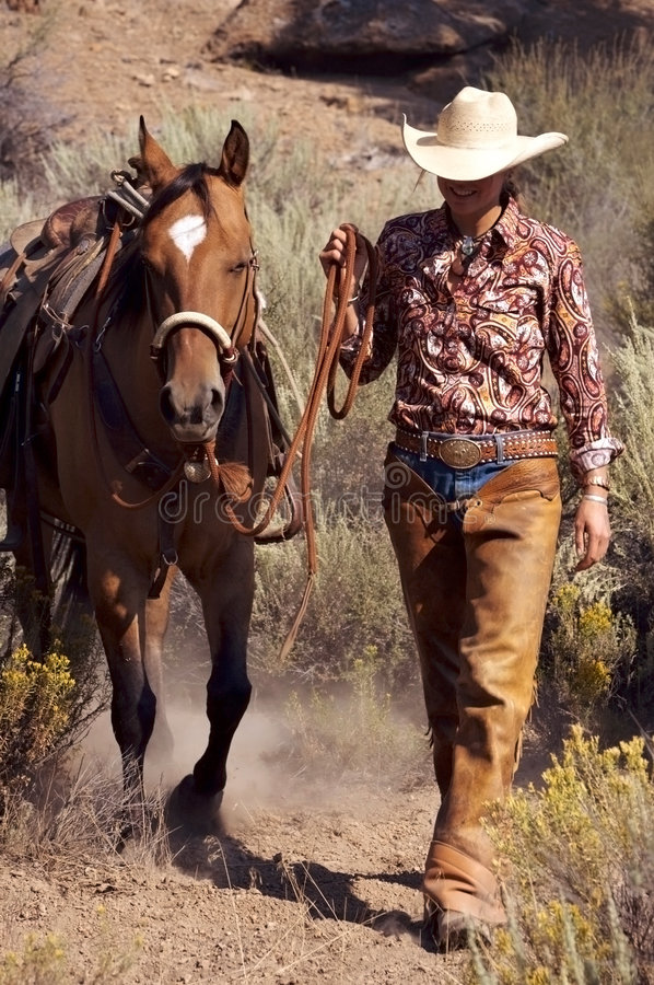 Download Cowgirl and Horse stock image. Image of leather, ranch - 2418941
