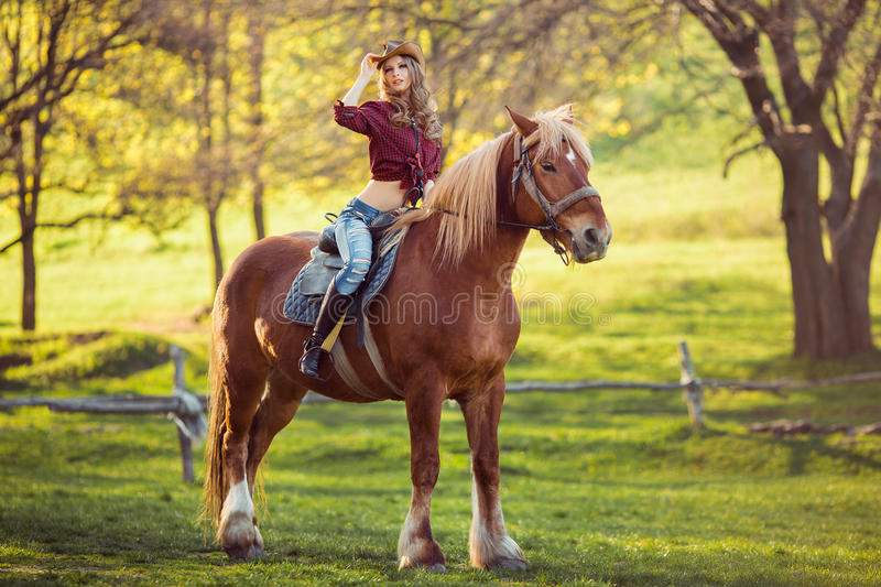 Cowgirl and Horse. Retro Style stock images