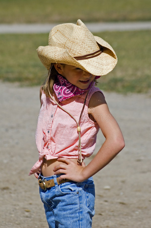 cowgirl little arkivfoton