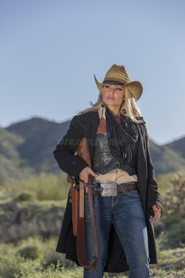 Cowgirl louro 'sexy' fotografia de stock