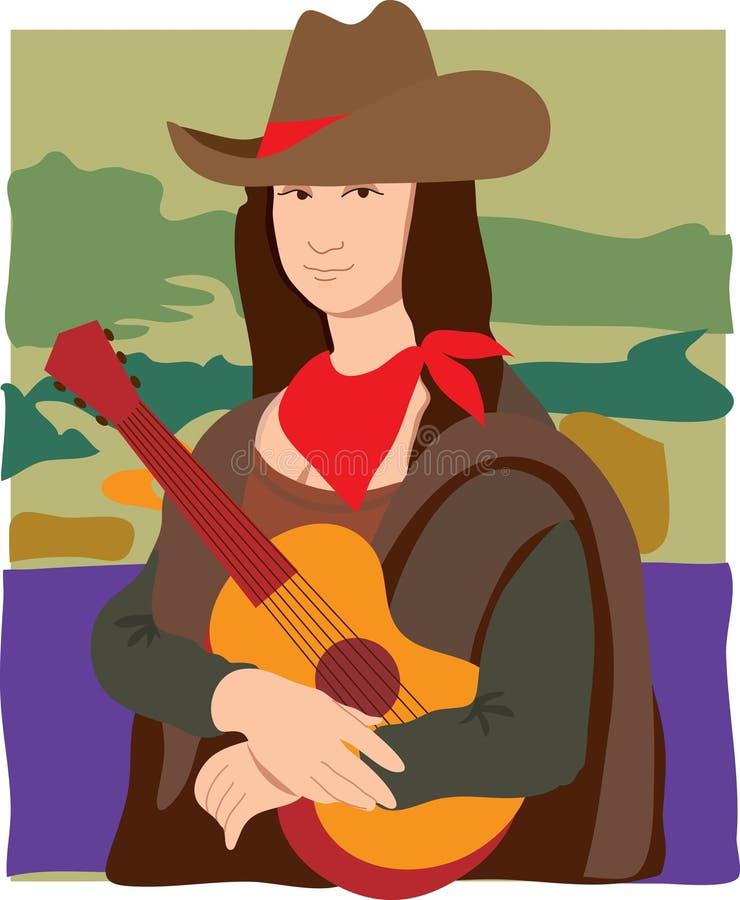 Cowgirl Mona-Lisa stock abbildung