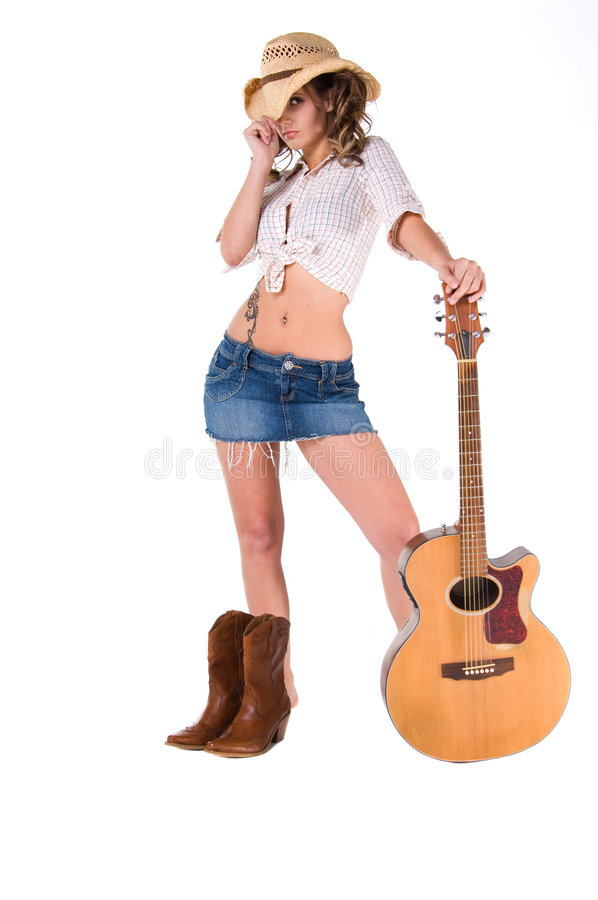 Cowgirl Musician stock image