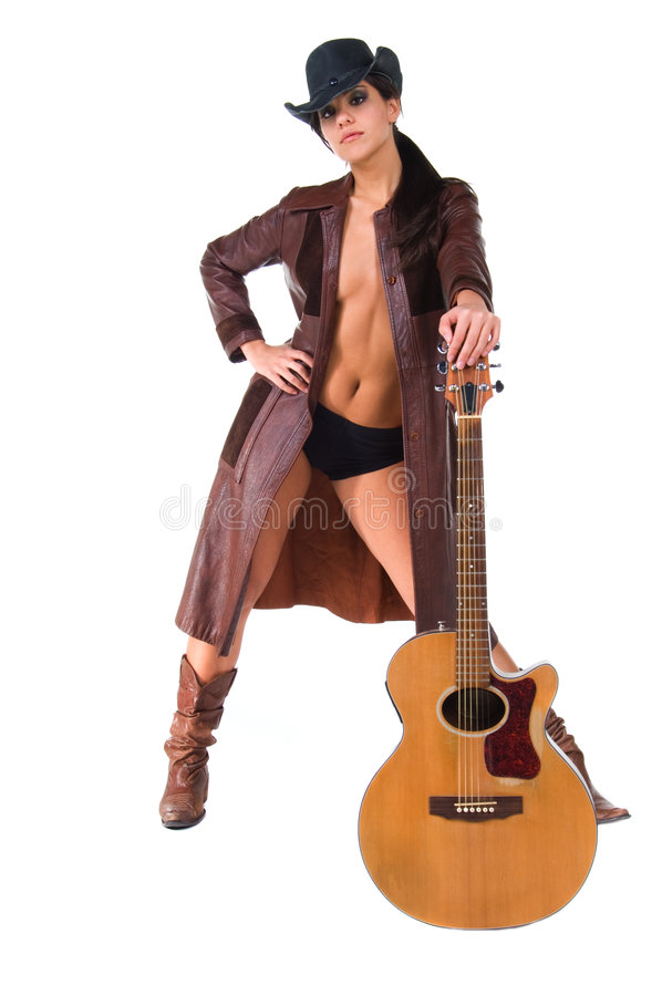 Cowgirl Musician stock images
