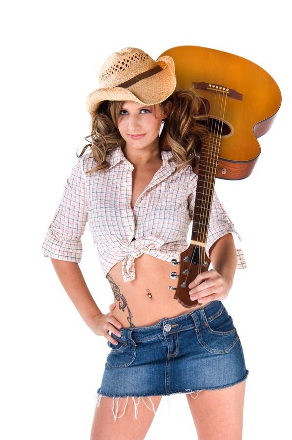 Cowgirl-Musiker stockbild