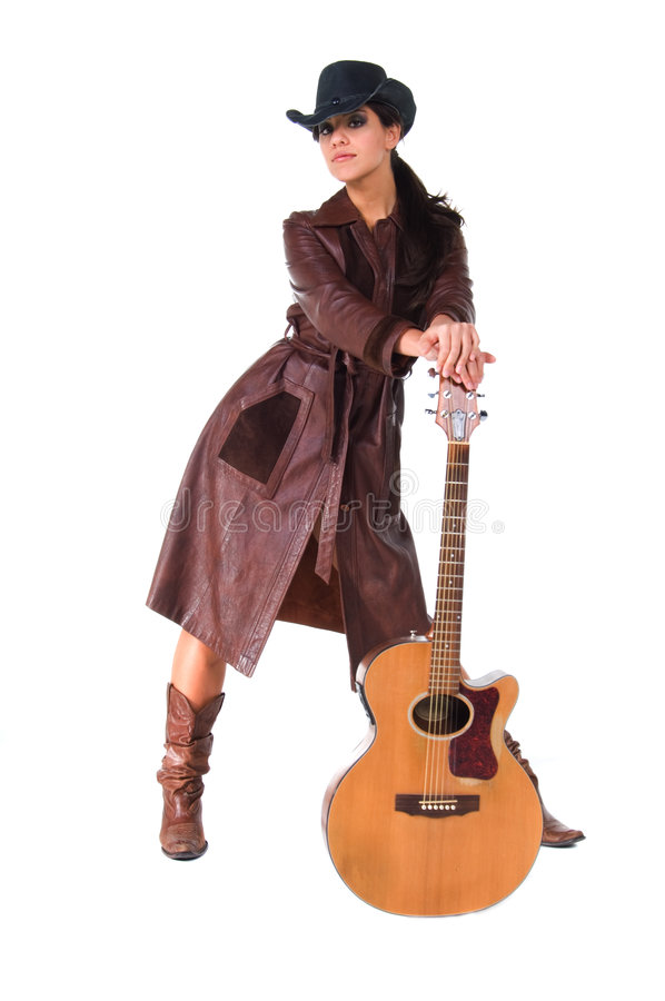 Cowgirl-Musiker stockfotografie