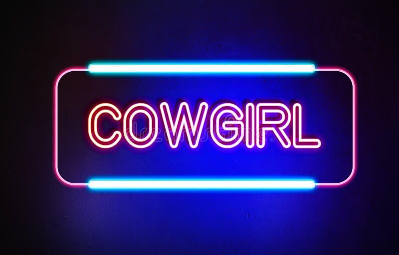 Cowgirl - neontecken arkivfoton