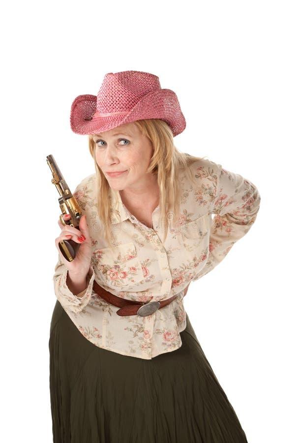 Cowgirl no fundo branco fotografia de stock