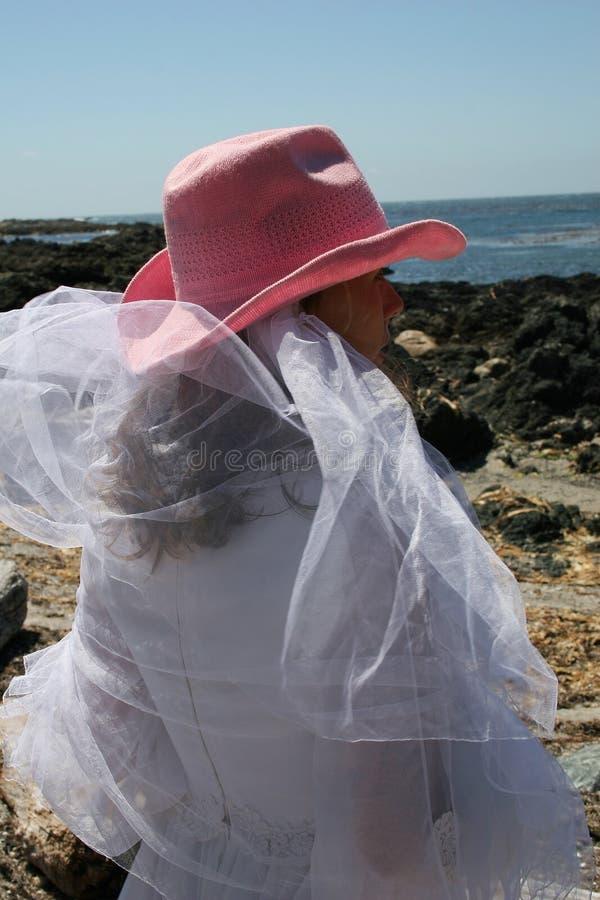 Cowgirl no oceano imagens de stock