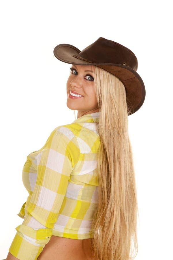 Cowgirl plaid shirt bac look long hair royalty free stock photo