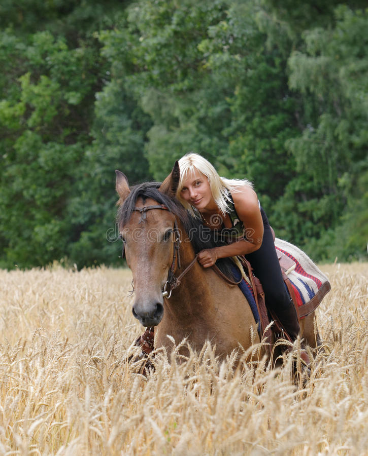 Cowgirl riding horse on field of wheat stock photo