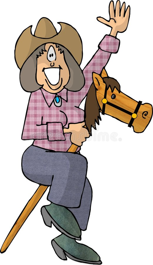 Download Cowgirl Riding A Stick Pony Stock Illustration - Illustration of female, wave: 47277