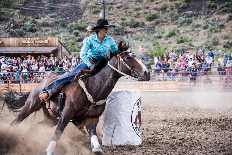 Cowgirl in Rodeo Action stock photos