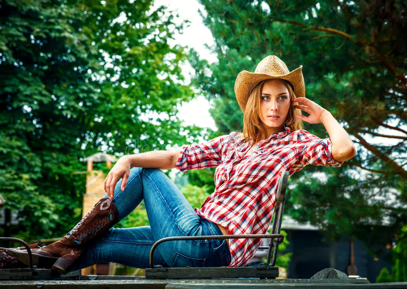 Cowgirl sexy. fotografie stock