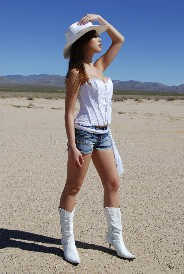 Cowgirl 'sexy' no deserto imagens de stock