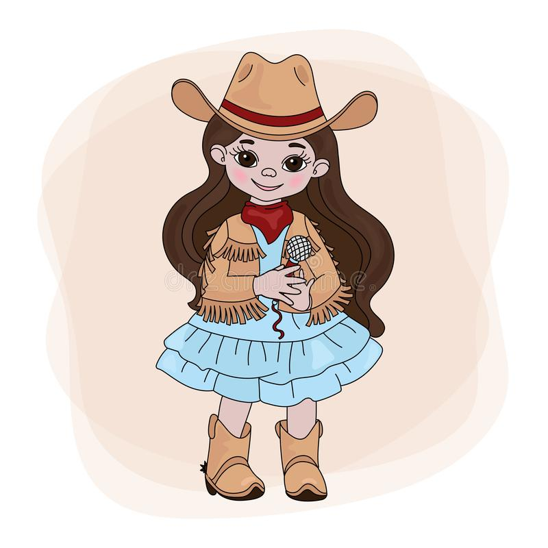 COWGIRL SINGER Western Music Festival Vector Illustration Set royalty free illustration