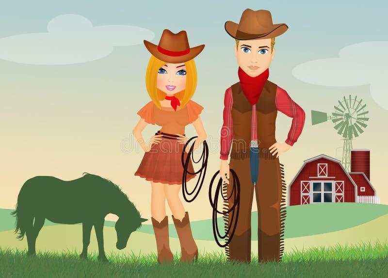 Cowgirl und Cowboy auf dem Bauernhof vektor abbildung