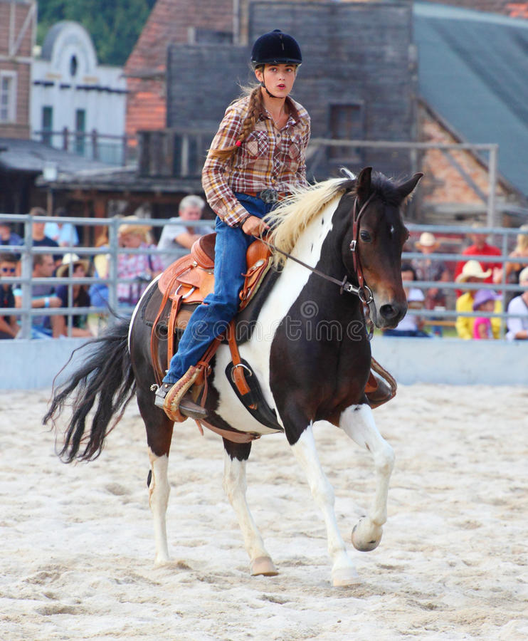 The cowgirl. Unidentified Cowgirl Participant in a Barrel racing competition at The International Rodeo Show Strabag Prorodeo Tour on August 24, 2013. Dnesice stock image
