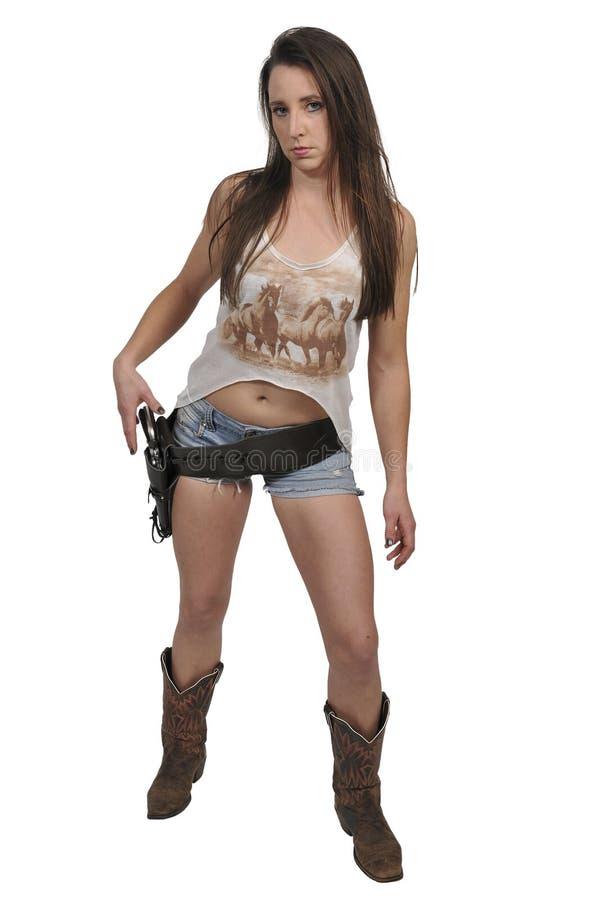 Cowgirl z relvolver zdjęcie royalty free