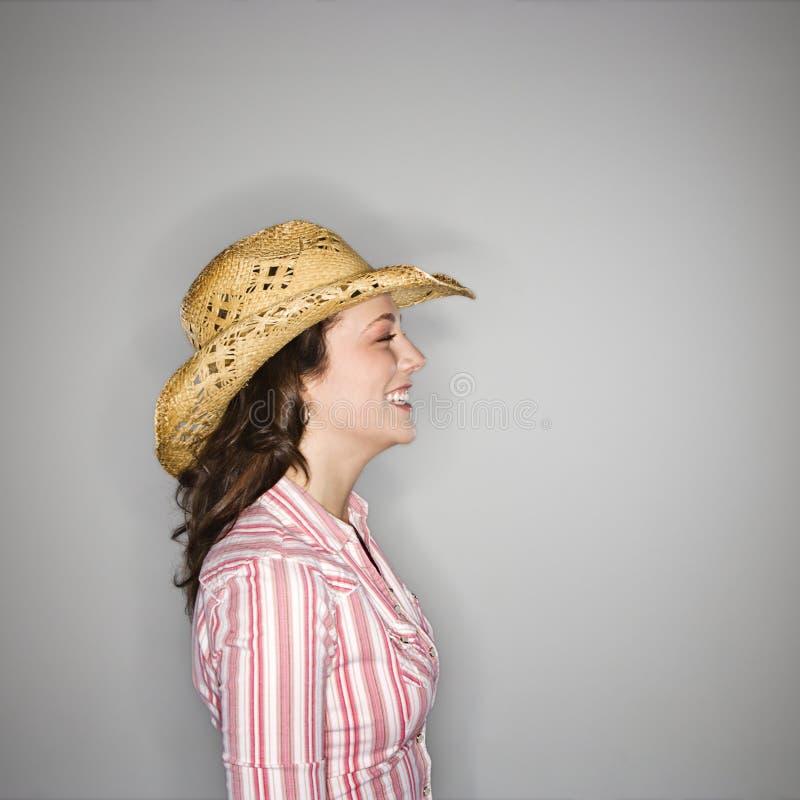 Cowgirlprofil. stockbilder