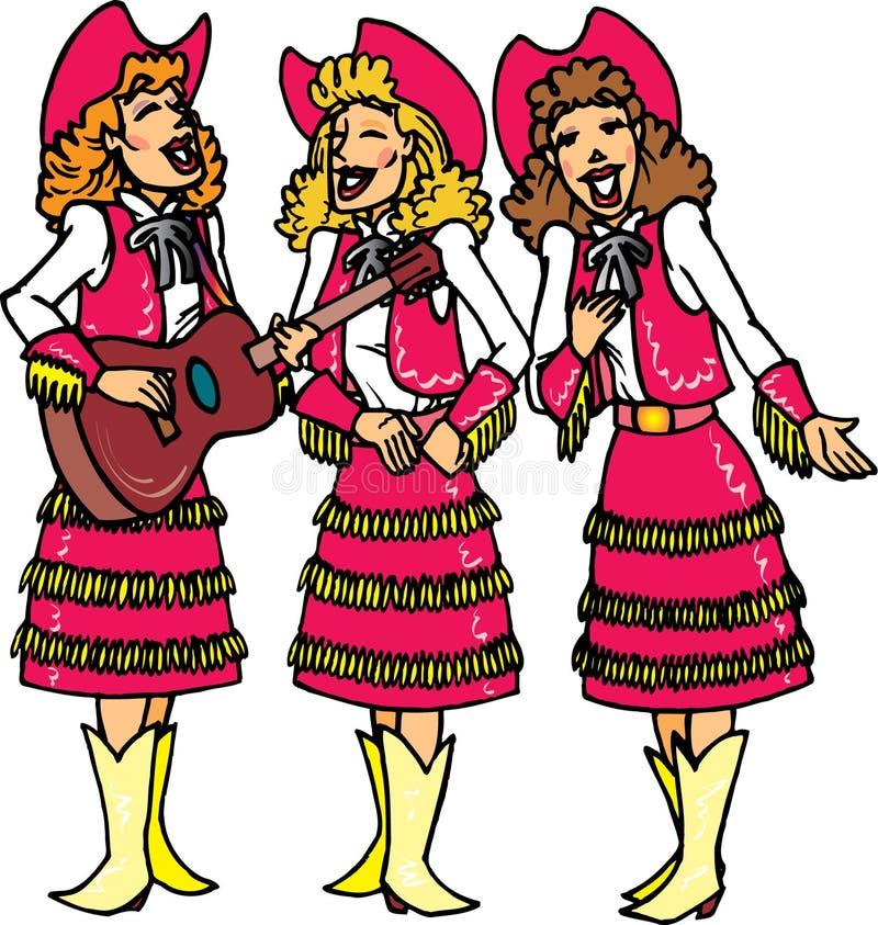 Cowgirls que cantam ilustração stock