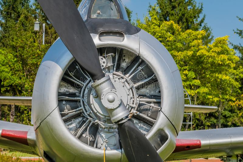 Cowling of T28 Trojan military training aircraft. Closeup of engine and front cowling of T28 Trojan military training aircraft on display in public park royalty free stock image