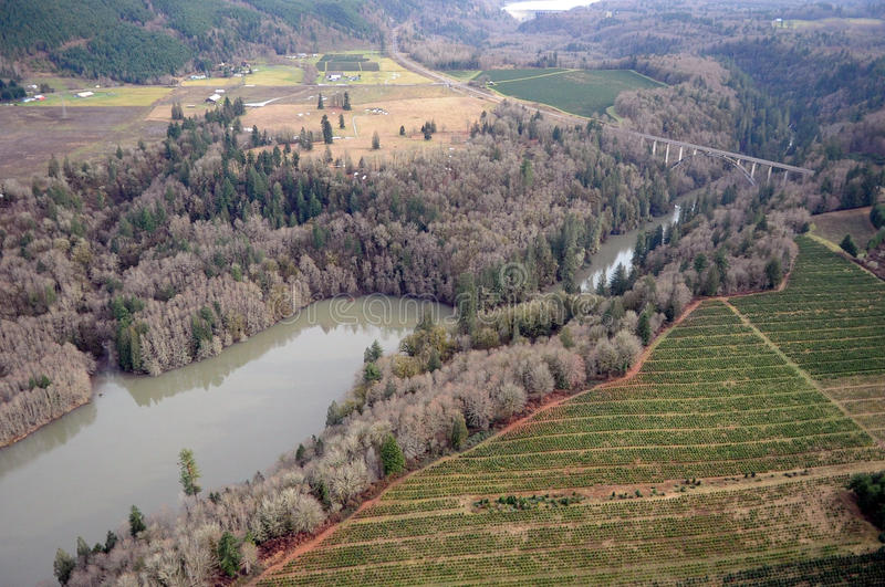 Cowlitz River flooding, Washington state. Water swells from the banks of the Cowlitz River in Washington state stock photo