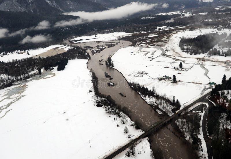 Cowlitzrivier overstroming, de staat van Washington royalty-vrije stock foto's