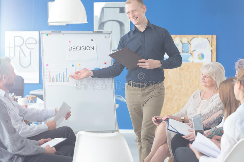 Coworkers on a briefing stock photos