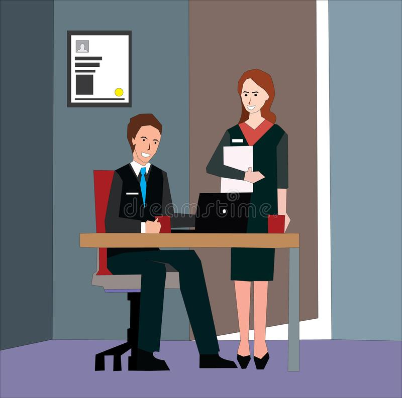 Employer interviewing a young male job seeker for a business vacancy sitting at a table reading his CV. stock illustration