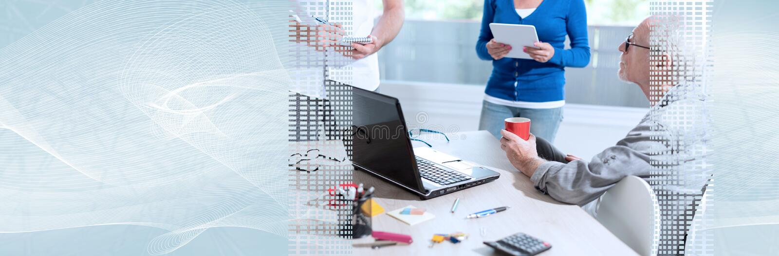 Coworkers having a business discussion. panoramic banner. Coworkers having a business discussion in office. panoramic banner stock image