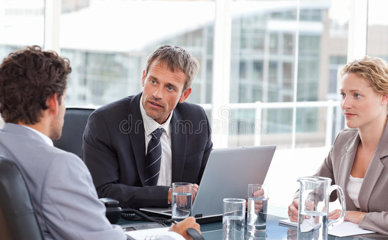 Coworkers during a meeting. At work stock image