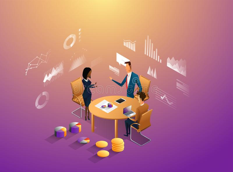 Coworkers office concept with characters. Freelancer concept, coworking people, ceo business workspace for creative stock illustration