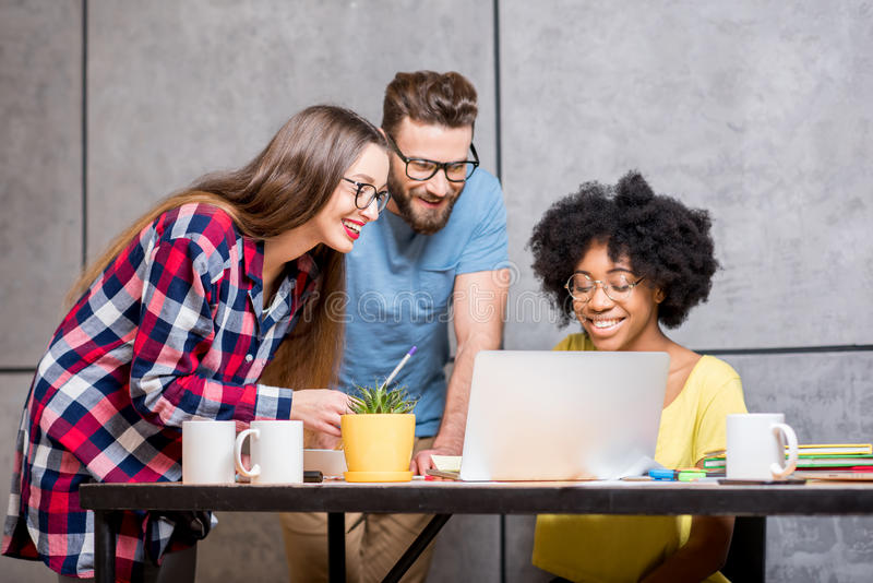 Coworkers Working At The Round Table Stock Image - Image ...