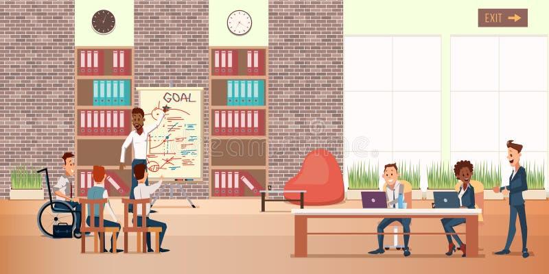 Coworking办公室中心 业务会议人 向量例证