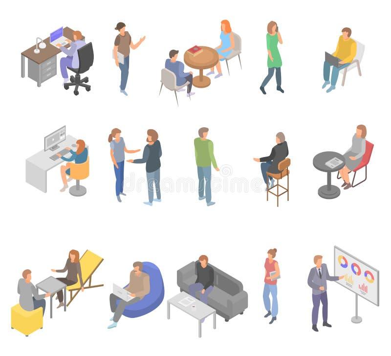 Coworking办公室企业象集合,等量样式 向量例证