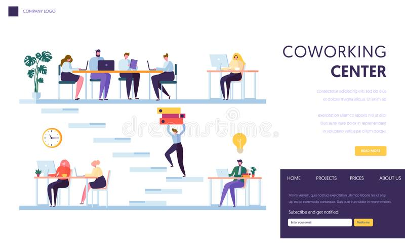 Coworking办公室空间着陆页 人自由职业者字符工作在膝上型计算机旁边 一起外包企业的队 皇族释放例证