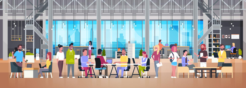 Coworking在现代工友中心的办公室小组创造性的人民 皇族释放例证