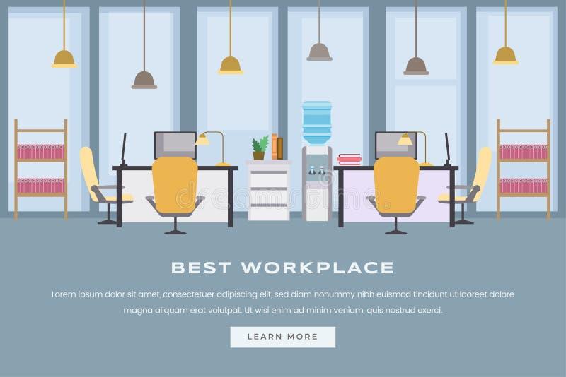 Coworking工作区着陆页平的模板 现代空的办公室内部,有家具网的公司工作场所 皇族释放例证
